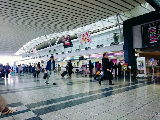 Suasana bandara Sendai di terminal keberangkatan domestik.