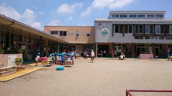 Anak-anak TK sedang beraktivitas di luar ruangan.