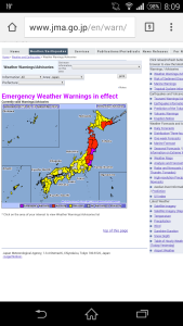 Daerah siaga taifun Etau 2015.